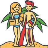 Ζεύγος στην παραλία, τις θερινές διακοπές, την ευτυχή νέα γυναίκα και τη χαλαρώνοντας έννοια ανδρών διανυσματική απεικόνιση