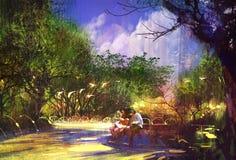 Ζεύγος στην όμορφη θέση, διάβαση πεζών στο πάρκο στοκ φωτογραφία με δικαίωμα ελεύθερης χρήσης