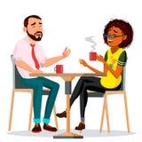 Ζεύγος στο διάνυσμα εστιατορίων Άνδρας και γυναίκα Να καθίσει μαζί και καφές κατανάλωσης lifestyle Απομονωμένα κινούμενα σχέδια διανυσματική απεικόνιση