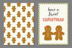 Ζεύγος της ευχετήριας κάρτας Χριστουγέννων ατόμων ψωμιού πιπεροριζών Στοκ φωτογραφίες με δικαίωμα ελεύθερης χρήσης