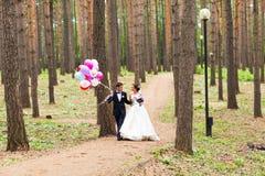 Ζεύγος της νύφης και του νεόνυμφου με τα μπαλόνια Στοκ φωτογραφίες με δικαίωμα ελεύθερης χρήσης