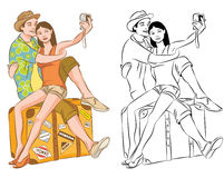 Ζεύγος τουριστών που παίρνει τη διανυσματική απεικόνιση αυτοπροσωπογραφίας τους Στοκ Εικόνες