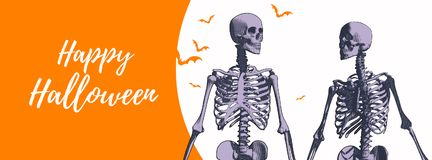 Ζεύγος του σκελετού για το έμβλημα αποκριών διανυσματική απεικόνιση