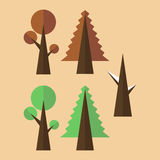 Ζεύγος των δέντρων σε ένα χρωματισμένο υπόβαθρο ελεύθερη απεικόνιση δικαιώματος