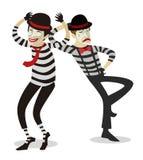 Ζεύγος των καλλιτεχνών κλόουν mime Στοκ φωτογραφία με δικαίωμα ελεύθερης χρήσης
