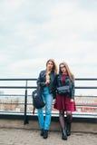 Ζεύγος των όμορφων γυναικών μαζί στη εικονική παράσταση πόλης Δύο χαρούμενα όμορφα κορίτσια στη στέγη όμορφη όψη πόλεων Στοκ Φωτογραφία