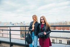 Ζεύγος των όμορφων γυναικών μαζί στη εικονική παράσταση πόλης Δύο χαρούμενα όμορφα κορίτσια στη στέγη όμορφη όψη πόλεων Στοκ Φωτογραφίες