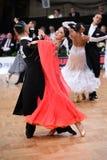 Ζεύγος χορού αιθουσών χορού, που χορεύει στον ανταγωνισμό Στοκ εικόνα με δικαίωμα ελεύθερης χρήσης
