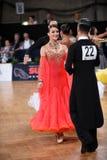 Ζεύγος χορού αιθουσών χορού, που χορεύει στον ανταγωνισμό Στοκ Φωτογραφίες