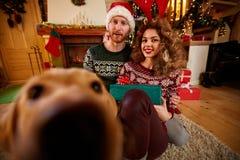 Ζεύγος Χριστουγέννων που απολαμβάνει με το σκυλί στοκ εικόνες