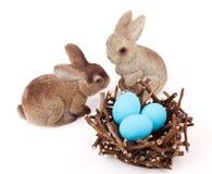 Ζεύγος bunnies Πάσχας Στοκ εικόνες με δικαίωμα ελεύθερης χρήσης