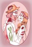 Ζεύγος Zombie hipster ερωτευμένο Στοκ Εικόνα