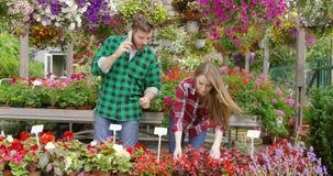 Ζεύγους στον ανθίζοντας κήπο απόθεμα βίντεο