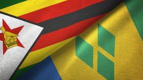 Ζιμπάμπουε και Άγιος Βικέντιος και Γρεναδίνες δύο υφαντικό ύφασμα σημαιών διανυσματική απεικόνιση