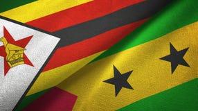 Ζιμπάμπουε και Σάο Τομέ και Πρίντσιπε δύο υφαντικό ύφασμα σημαιών, σύσταση υφάσματος απεικόνιση αποθεμάτων