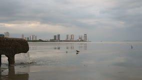 Ζουμ έξω στο σωλήνα του νερού υπονόμων από το σύστημα αποχετεύσεων άμεσα κοντά στη θάλασσα απόθεμα βίντεο