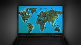 Ζουμ Διαδικτύου στον παγκόσμιο χάρτη διανυσματική απεικόνιση