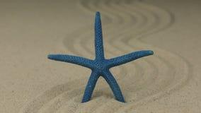 Ζουμ ενός όμορφου αστερία που βρίσκεται σε ένα τρέκλισμα φιαγμένο από άμμο φιλμ μικρού μήκους