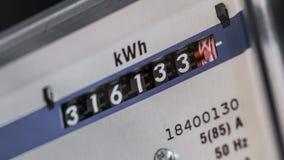 Ζουμ μετρητών ηλεκτρικής ενέργειας μέσα απόθεμα βίντεο
