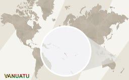 Ζουμ στο χάρτη και τη σημαία του Βανουάτου Παλαιός Κόσμος χαρτών απεικόνισης απεικόνιση αποθεμάτων