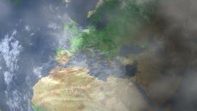 Ζουμ της Λυών - της Γαλλίας μέσα από το διάστημα