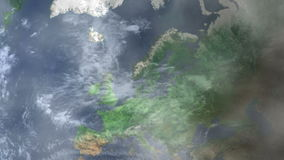 Ζουμ του Κάρντιφ - της Ουαλίας μέσα από το διάστημα
