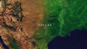 Ζουμ του Ντάλλας - των Ηνωμένων Πολιτειών μέσα από το διάστημα απόθεμα βίντεο