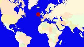 Ζουμ Worldmap στην Πορτογαλία απεικόνιση αποθεμάτων