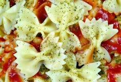 Ζυμαρικά δεσμών τόξων με τη σάλτσα ντοματών κλείστε επάνω στοκ φωτογραφία με δικαίωμα ελεύθερης χρήσης