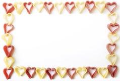 ζυμαρικά καρδιών πλαισίων Στοκ Εικόνα