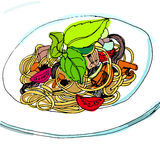 Ζυμαρικά με τη σάλτσα, μακαρόνια, νουντλς Ελεύθερη απεικόνιση δικαιώματος