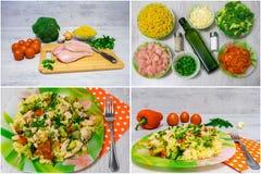 Ζυμαρικά με το κοτόπουλο και το μπρόκολο κολάζ Στοκ Εικόνες