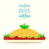 Ζυμαρικά σε ένα πιάτο με τις ντομάτες και τα χορτάρια ελεύθερη απεικόνιση δικαιώματος