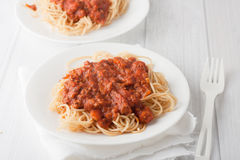Ζυμαρικά Spagetti με τη σάλτσα ντοματών κρέατος στοκ εικόνα με δικαίωμα ελεύθερης χρήσης