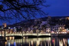 Ζυρίχη τη νύχτα, Ελβετία Στοκ εικόνα με δικαίωμα ελεύθερης χρήσης