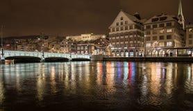 Ζυρίχη τη νύχτα Στοκ Φωτογραφίες