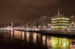 Ζυρίχη τη νύχτα Στοκ Εικόνες