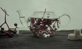 1 ζωή ακόμα δέσμες των άγριων σταφυλιών σε ένα δοχείο γυαλιού Κινηματογράφηση σε πρώτο πλάνο Στοκ εικόνα με δικαίωμα ελεύθερης χρήσης
