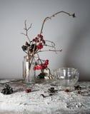 1 ζωή ακόμα κλάδοι viburnum με τα μούρα και χιόνι σε ένα διαφανές βάζο, teapot γυαλιού στον ξύλινο πίνακα Στοκ Φωτογραφία