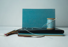1 ζωή ακόμα σημειωματάριο, παλαιό στροφίο του νήματος με μια βελόνα, καρφίτσες, ψαλίδι Κινηματογράφηση σε πρώτο πλάνο Στοκ Φωτογραφία