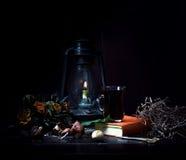1 ζωή ακόμα Τα μικρά ολλανδικά λαμπτήρας κηροζίνης με μια ανθοδέσμη των τριαντάφυλλων και του βιβλίου στο ξύλινο επιτραπέζιο σκοτ Στοκ Φωτογραφία