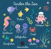 Ζωή θάλασσας, τα θαλάσσια ζώα θέτουν με το υποβρύχιο τοπίο - seahorse, αστέρι, χταπόδι, ψάρια, μέδουσα, καβούρι κινούμενα σχέδια  ελεύθερη απεικόνιση δικαιώματος