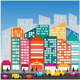 Ζωή κυκλοφορίας οδών αυτοκινήτων ανθρώπων πόλεων Στοκ εικόνα με δικαίωμα ελεύθερης χρήσης