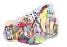 ζωή μουσική ακόμα Ελεύθερη απεικόνιση δικαιώματος