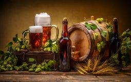 ζωή μπύρας ακόμα στοκ εικόνα
