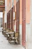 Ζωή στις οδούς Mindelo Εστιατόριο πρωινού Στοκ φωτογραφία με δικαίωμα ελεύθερης χρήσης