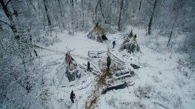 Ζωή στο tipi στο χειμώνα στο βουνό Ural Στοκ Φωτογραφίες