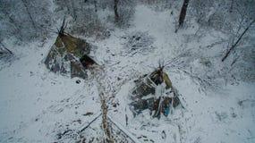 Ζωή στο tipi στο χειμώνα στο βουνό Ural Στοκ εικόνα με δικαίωμα ελεύθερης χρήσης