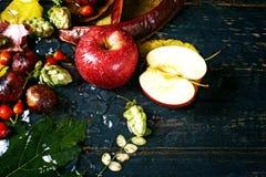 Ζωή φθινοπώρου ακόμα με τη Apple σε ένα σκοτεινό υπόβαθρο Στοκ Φωτογραφίες