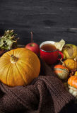 Ζωή φθινοπώρου ακόμα με τις κολοκύθες και το φλυτζάνι του τσαγιού στην παλαιά ξύλινη ΤΣΕ Στοκ Φωτογραφία